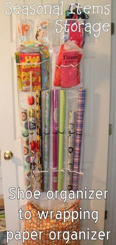 Store Gift Wrap in a Shoe Organizer - 150 Dollar Store Organizing Ideas and Projects for the Entire Home