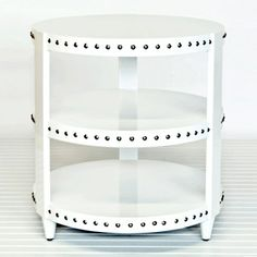 White side table with nickel studs/ nailhead trim