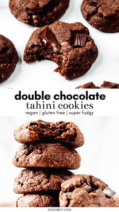 If you love chocolate dont sleep on these double chocolate tahini cookies! Theyre so soft fudgy and most importantly packed with rich chocolate flavor. They just happen to be vegan gluten free and full of healthy fats! Vegan Sweets, Healthy Dessert Recipes, Healthy Desserts, Baking Recipes, Cookie Recipes, Healthy Fats, Easy Desserts, Vegan Recipes, Double Chocolate Cookies