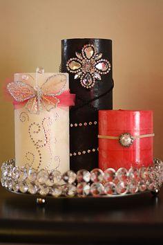 diy embellished candles decorating - Candle Decorations
