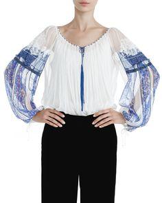 Ie din voal de mătase, dantelă și broderie, print digital și aplicații de mărgele Bell Sleeves, Bell Sleeve Top, Folk Clothing, Blouses, Traditional, Tops, Women, Style, Fashion