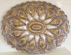 Antique 17x13 Turkish Wedding Mirror .900 Coin by SaintPinks, $450.00