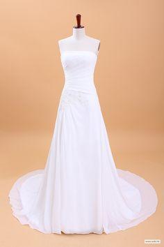 spring wedding Strapless Ruffled Chiffon Beach Wedding Dress $238.98