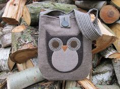 Totebag recycled wool owl applique by granniesraggedybags on Etsy, $27.00