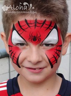Face painting motifs for your kids party! - kinderschminken halloween - Make-up Face Painting For Boys, Face Painting Designs, Body Painting, Fête Spider Man, Spider Man Face Paint, Spiderman Makeup, Spiderman Face, Face Painting Spiderman, Halloween Design