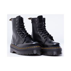 Dr. Martens Jadon Womens ($142) ❤ liked on Polyvore featuring shoes, boots, black, docs, platforms, black polished, platform shoes, dr martens boots, black shoes and metallic boots