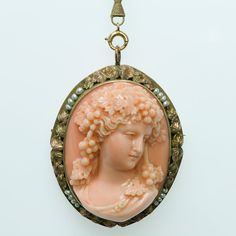 Antique Carved Coral Pearl Cameo Gold Necklace   | eBay