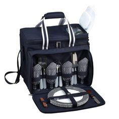 Picnic At Ascot Bold Insulated Picnic Cooler Set for 4 - 230-BLB