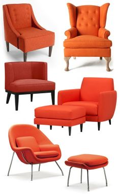 Simple Orange Accent Chairs Model