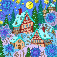 My Coloring Book Coloring Book App, Coloring Apps, Cartoon House, Cartoon Kids, Coloring Pages For Grown Ups, Scenery Paintings, Stained Glass Designs, Happy Colors, Whimsical Art