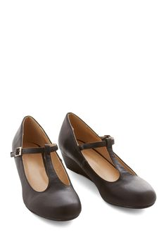 Everyday Charm Wedge. Though you wear these sleek black wedges often, theyre anything but ordinary! #black #modcloth