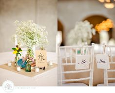 Adorable eclectic centerpiece. (Very similar to mine actually). Not sure what's going on with that random Asian vocab, though. Assuming there's a story behind that though haha. | Wedding @ Olde Dobbin Station Wedding :: Liz and James | LFF Designs | www.facebook.com/LFFdesigns
