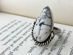 Turquoise Ring, White Buffalo Turquoise Ring, Statement Ring by CupidsMoonJewelry on Etsy