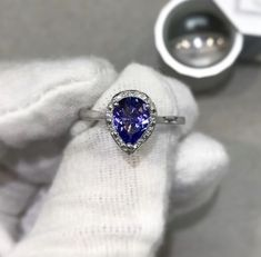 Tanzanite + Diamond Engagement Ring Pear Shaped, Diamond Engagement Rings, Sapphire, Jewels, Jewerly, Gemstones, Diamond Engagement Ring, Fine Jewelry, Gem