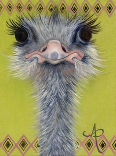 Bobo the Ostrich - Art Print from Original Oil Painting Animal Paintings, Animal Drawings, Art Mignon, Cute Animal Illustration, Funny Birds, Happy Paintings, Pictures To Paint, Bird Art, Pet Birds