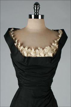 1stdibs | Vintage 1950's Black Silk Shelf Bust Deadstock Wiggle Dress