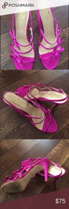 Kate Spade hot pink high heels Beautiful hot pink satin shoes. Size 9 B kate spade Shoes Sandals