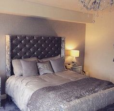 Silver grey crushed velvet bedroom