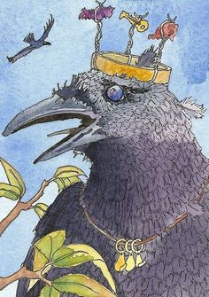 ACEO limited edition print CRAZY CROW raven crown king miniature art
