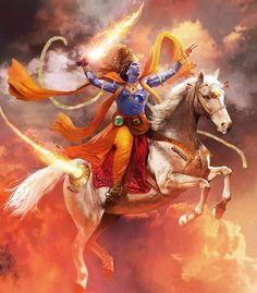 Kalki, Destroyer of Filth, the and final avatar of the Hindu god Vishnu. Lord Vishnu, Deus Vishnu, Ganesh Lord, Lord Shiva Painting, Krishna Painting, Shiva Art, Hindu Art, Orisha, Painting Digital