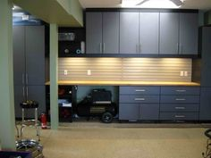 Garage is a multifunctional space where we put almost 'everything' on there. Read MoreTop 5 Simple Wood Garage Cabinets Ideas You'll Love Diy Garage Storage, Garage Shelving, Garage Organization, Organization Ideas, Storage Ideas, Organized Garage, Storage Systems, Bike Storage, Shelving Systems