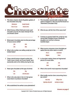 Chocolate Facts Trivia Game!