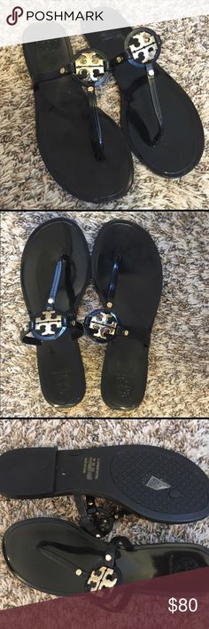 Authentic Tory Burch Mini Miller Sandals Absolutely a stunning classic sandal 👡, new never worn, but my loving better half tossed the box before I could return for a smaller size I am usually 7-7 1/2 and went up instead of going down! My loss is your gain no low ball offers! These are new not worn at all, I just need to sell so I can buy my size before they are sold out everywhere! Nordstrom where I got them currently is out of stock in store, and I will have to order on line! I do have the…