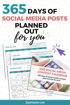 Nov 2018 - Save hours of time and stress with the 2020 Social Media Content Calendar. It's 366 days of post ideas planned out for you in an editable and customizable format to fit your business needs. Social Marketing, Marketing Quotes, Business Marketing, Business Tips, Online Business, Online Marketing, Affiliate Marketing, Mobile Marketing, Marketing Firms