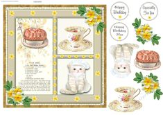 This clever cat has made a peach pie and a cup of tea for you. Decoupage the cat, pie, flowers and tea Christmas Squares, New York Christmas, Decoupage, Tea Cups, Clever, Card Making, Happy Birthday, Peach, Pie
