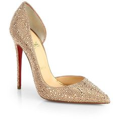 Christian Louboutin Iriza Strass Crystal Pumps ($3,590) ❤ liked on Polyvore featuring shoes, pumps, heels, sapatos, christian louboutin, apparel & accessories, rose gold, crystal shoes, red sole pumps and christian louboutin pumps