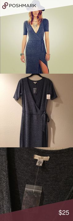 Urban Outfitters Ecote Wrap Maxi Dress Brand Ecote from Urban Outfitters, this gray wrap maxi dress is perfect for festival season! Super lightweight, it's a summer maxi but paired with tights and a kimono or motorcycle jacket it's versatile enough for fall/ winter too. I LOVE this dress and bought the black color as well, but unfortunately I'm too short to make the dress' fit look perfect (I'm 5'2). Maxi buttons on one side and ties on other side. Slit begins mid thigh. Make me an offer! I…