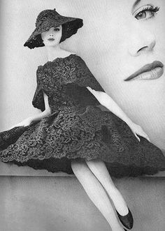 Dorothea McGowan in lace dress and hat by Balenciaga, Vogu… | Flickr