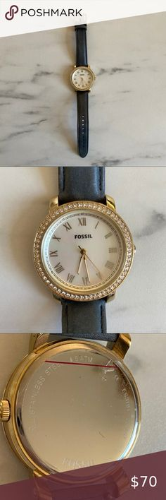 Blue and gold Fossil watch Blue leather and gold stainless steel watch with mother of pearl watch face. Protective plastic still on back. Needs battery replacement. Sku ES3191 Fossil Accessories Watches Watch Faces, Stainless Steel Watch, Fossil, Plastic, Pearls, Watches, Gold, Leather, Closet
