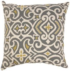 Pillow Perfect Gray/Greenish-Yellow Damask 18-Inch Throw Pillow by Pillow Perfect, http://www.amazon.com/dp/B0093ZG90S/ref=cm_sw_r_pi_dp_JzTdsb1GEWGW8