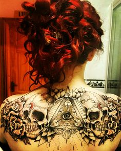 Help me find the artist of the original drawing of my tattoo #illuminati #eyes #skulltattoo #art #redhair #tattoos #tattooart #girlswithink #complete #finished