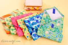 Fused plastic sandwich wraps | Chica and Jo-- This is a fantastic idea to save not only the environment but money too. Not to even mention these bags are much prettier than plastic bags.