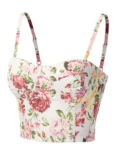 J.tomson Womens Fashionable And Feminine Floral Bustier Top