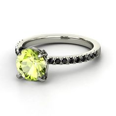 Peridot stone and black diamonds engagement ring