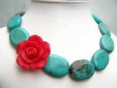 Turquoise Statement Necklace with Red Rose - Frida - Chunky, Asymmetric Beaded Jewelry