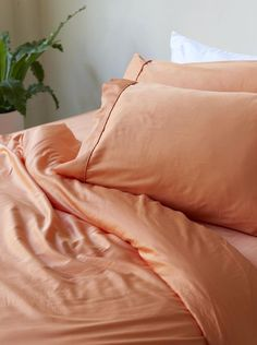 Home + Bedroom Decor // ideas // Bamboo Charcoal Pillow Case Set - Apricot Home Bedroom, Bedroom Decor, Bedroom Ideas, Bedroom Interiors, Bedroom Inspiration, Bedrooms, Salmon Bedroom, Earth Tone Bedroom, Mustard Bedroom