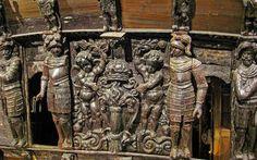 Detail der Verzierungen am berühmten Vasa-Kriegsschiff in Stockholm Stockholm, Archipelago, Old Town, Attraction, Lion Sculpture, Poster, Museum, Island, Statue