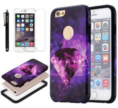 """iPhone 6 Plus Case KINGCOOL(TM) Dual Layer Deluxe Diamond Design Hybrid Armor Defender Case Combo for Apple iPhone 6 5.5"""" Designed specially for Apple iPhone 6 plus 5.5"""" Fashionable bling design makes your phone stand out! Premium coating for a soft feeling texture Provides great protection with easy installation Access to all controls, buttons and camera holes"""