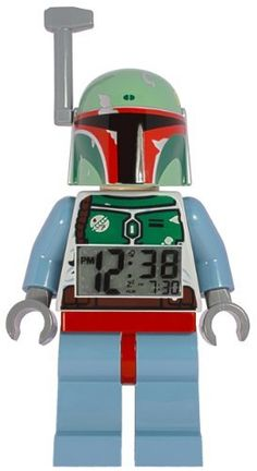 Lego Star Wars Boba Fett Figure Alarm Clock by ClicTime. $32.95. The LEGO Star Wars Bobba Fett Minifigure Alarm Clock has been made to scale of a genuine LEGO Bobba Fett minifigure. Bobba Fett has moveable arms and legs. The digital display lights up in red when you push down on the head, whether to make the alarm snooze for 5 minutes or just to check the time that gives you a 12 hour/24 hour option. The Bobba Fett Minifigure Alarm Clock is part of the minifigure clock colle...