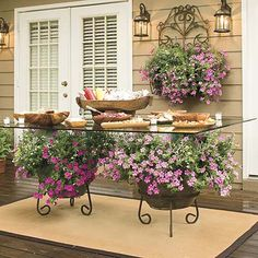 Spectacular Container Gardens: Trailing Petunias - Southern Living - Add color to your outdoor party with potted plants. There's no need for a patterned tablecloth here. Potted petunias add all the color you need under the glass-top dining table.