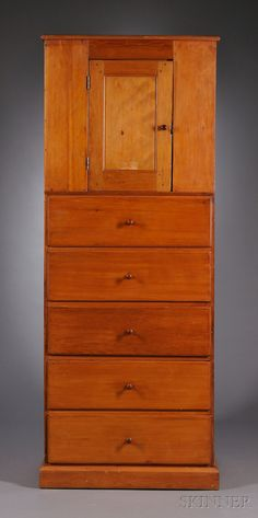 Shaker Pine Cupboard over Five Drawers, Mt. Lebanon, New York, c. 1830, turned cherry knobs, 82.5 H. x 32.5 W. x 25 D.
