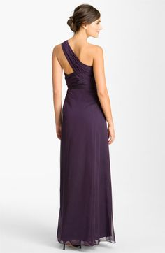 ML Monique Lhuillier Bridesmaids Pleated One Shoulder Chiffon Gown (Nordstrom Exclusive) | Nordstrom