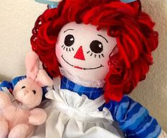 Raggedy Ann Doll in Turquoise Dress with by TimelessTreasuresbyB