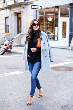 Saint Germain Clutch - Gigi New York clutch // Theory turtleneck Banana Republic coat // AG Jeans Schutz heels // Lele Soudaghi bracelets c/o Monday, November 30, 2015
