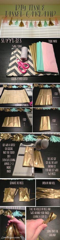 DIY tissue paper tassel decor