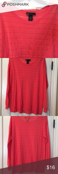 Sheer, Striped Coral Top Crew neck, striped long sleeve, sheer coral/orange top. Lightweight, perfect for the cool temperatures inside during the summer.  Made of 57% Rayon 25% Nylon, 14% Acrylic 4% Other Fiber. In excellent condition- only worn a few times. Lane Bryant Tops Blouses